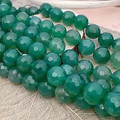 Материалы для творчества handmade. Livemaster - original item Agate faceted bead 10 mm GREEN (Ref. 3193). Handmade.