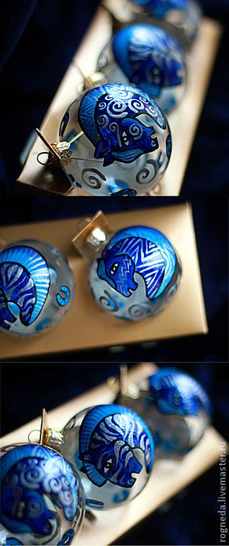 Новый год 2017 ручной работы. Ярмарка Мастеров - ручная работа. Купить Волшебные лошади - набор шаров (3 шт). Handmade.