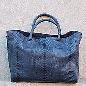 Сумки и аксессуары handmade. Livemaster - original item Bag made of Python leather with natural big Blue print. Handmade.