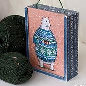 """Для дома и интерьера ручной работы. Ярмарка Мастеров - ручная работа Деревянный ящик  """"Winter Bear """". Handmade."""