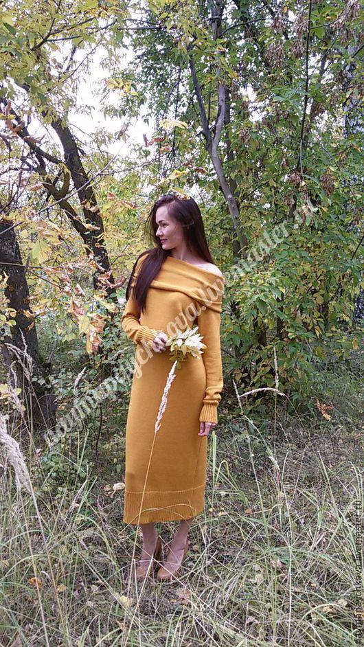 Платья ручной работы. Ярмарка Мастеров - ручная работа. Купить Платье - Голди. Handmade. Желтый, вязаное платье, длинный рукав