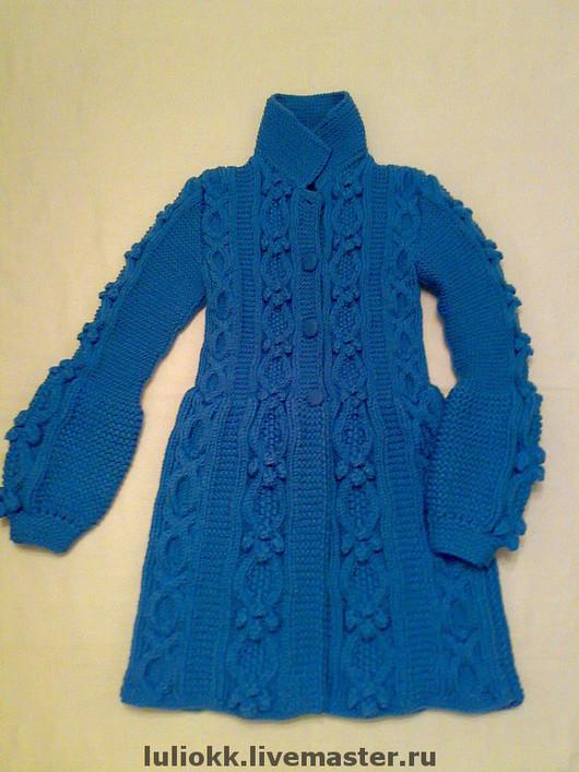 Верхняя одежда ручной работы. Ярмарка Мастеров - ручная работа. Купить Пальто вязаное. Handmade. Пальто вязаное, синий