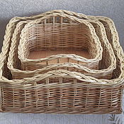 Для дома и интерьера handmade. Livemaster - original item A set of wicker square baskets. Handmade.