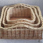 Для дома и интерьера handmade. Livemaster - original item A set of wicker square baskets made of natural vines. Handmade.