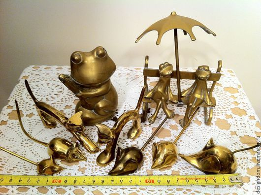 Винтажные предметы интерьера. Ярмарка Мастеров - ручная работа. Купить Животные латунь. Handmade. Латунь, лейка садовая, лягушка