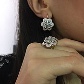 Украшения handmade. Livemaster - original item Shining Helen.  Earrings and ring with diamonds in gold 585. Handmade.
