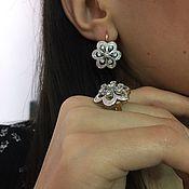 Shining Helen. Серьги и кольцо с бриллиантами в золоте 585