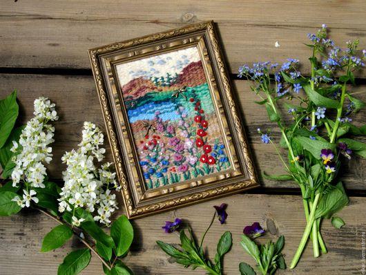 """Картины цветов ручной работы. Ярмарка Мастеров - ручная работа. Купить гобелен """"Пейзаж с цветами"""" (продана). Handmade. Бежевый, горизонт"""
