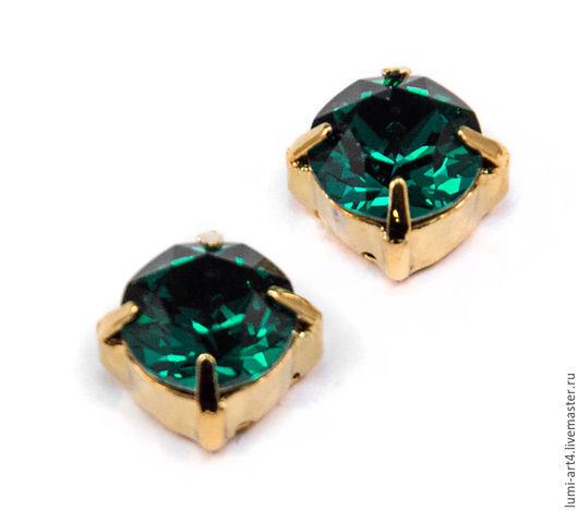 Для украшений ручной работы. Ярмарка Мастеров - ручная работа. Купить Chaton 8mm Emerald в оправе Золото шатоны Сваровски Xirius 1088 ss39. Handmade.