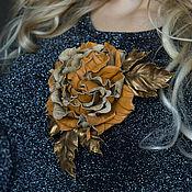 Украшения handmade. Livemaster - original item Brooch-clip leather Red rose gold. Decoration leather.. Handmade.