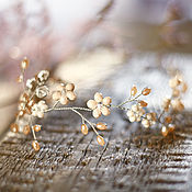 Свадебный салон ручной работы. Ярмарка Мастеров - ручная работа Свадебный венок-веточка для прически невесты. Венок из цветов бежевый.. Handmade.