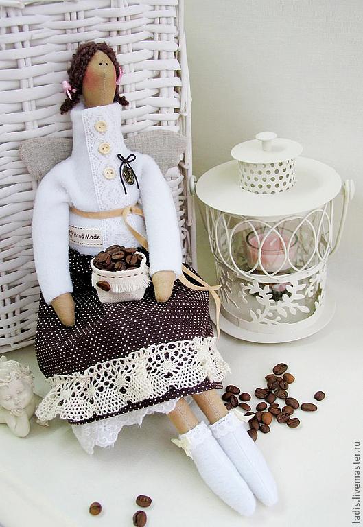 Куклы Тильды ручной работы. Ярмарка Мастеров - ручная работа. Купить Кукла Тильда Ангел  Кофейная фея. Handmade. Коричневый