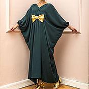 Одежда ручной работы. Ярмарка Мастеров - ручная работа Зеленое длиннее летнее вечернее макси платье, кафтан. Handmade.
