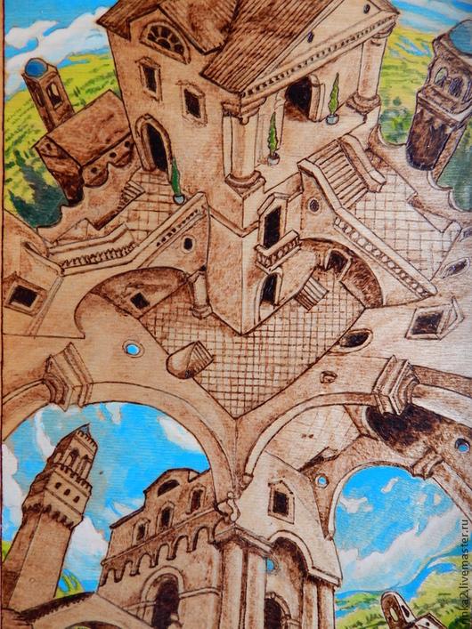 """Символизм ручной работы. Ярмарка Мастеров - ручная работа. Купить Картина """"Город дорог"""". Handmade. Разноцветный, город, картина, путешественнику"""