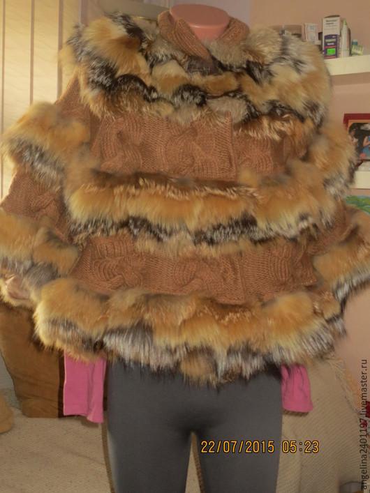 """Пончо ручной работы. Ярмарка Мастеров - ручная работа. Купить пончо""""Лисонька"""" из меха рыжей лисы и лисы чернобурки. Handmade. Оранжевый"""