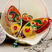 Украшения handmade. Livemaster - original item Cheerful butterfly. stained glass necklace on silvered wire. Handmade.