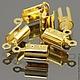 Концевики зажимы с для шнуров цвета золото комплектами по 10 штук для использования в сборке украшений ручной работы