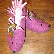 Обувь ручной работы. Ярмарка Мастеров - ручная работа тапочки-ежики. Handmade.