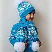 """Работы для детей, ручной работы. Ярмарка Мастеров - ручная работа Комплект  для мальчика  - """"Снежинки и олени в бирюзе"""". Handmade."""