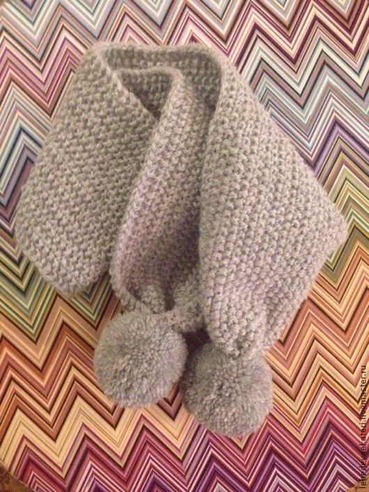 Шапки и шарфы ручной работы. Ярмарка Мастеров - ручная работа. Купить Шарфик детский вязаный. Handmade. Серый, шарф вязаный