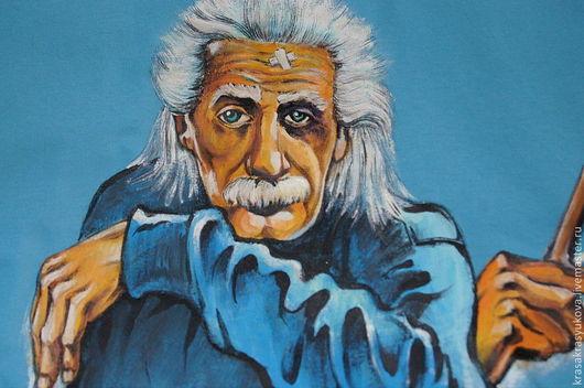 Футболки, майки ручной работы. Ярмарка Мастеров - ручная работа. Купить господин Энштейн. Handmade. Krasa, портрет по фото