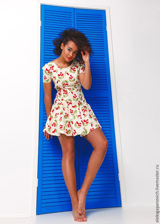 Платья ручной работы. Ярмарка Мастеров - ручная работа. Купить Вишневое платье.. Handmade. Разноцветный, платье летнее, одежда на заказ