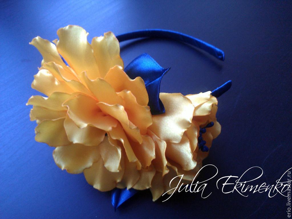 Ободок с объемными цветками, яркие и запоминающиеся цветы