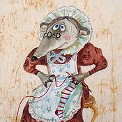 Картины и панно ручной работы. Ярмарка Мастеров - ручная работа Вязальщица ( батик панно). Handmade.