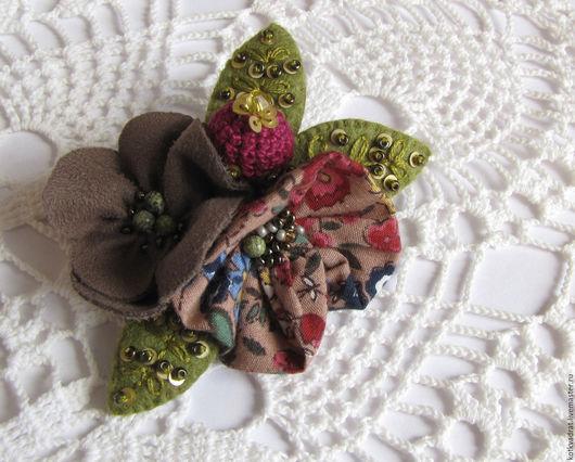 """Броши ручной работы. Ярмарка Мастеров - ручная работа. Купить Брошь в стиле бохо""""Осенние цветы"""". Handmade. Комбинированный, богемный, осенний"""