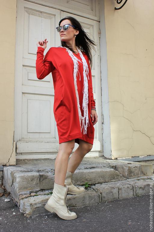 30e1cfe2afb ... R00040 Платье красное короткое яркое платье сочное платье красный цвет  свободное платье нарядное платье теплое платье
