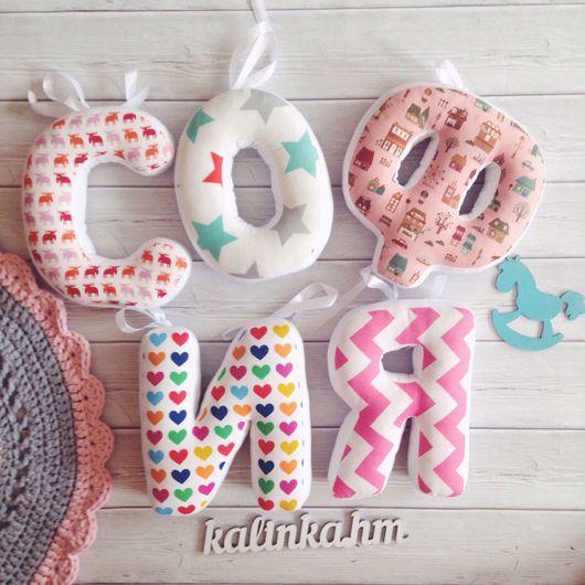 Детская ручной работы. Ярмарка Мастеров - ручная работа. Купить Буквы подушки. Handmade. Буквы, декор детской, подарок на крестины