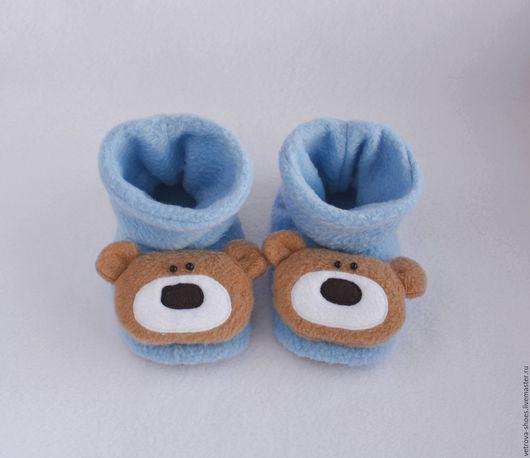 Обувь ручной работы. Ярмарка Мастеров - ручная работа. Купить Детские тапочки-медвежата. Handmade. Голубой, бежевый, мишка