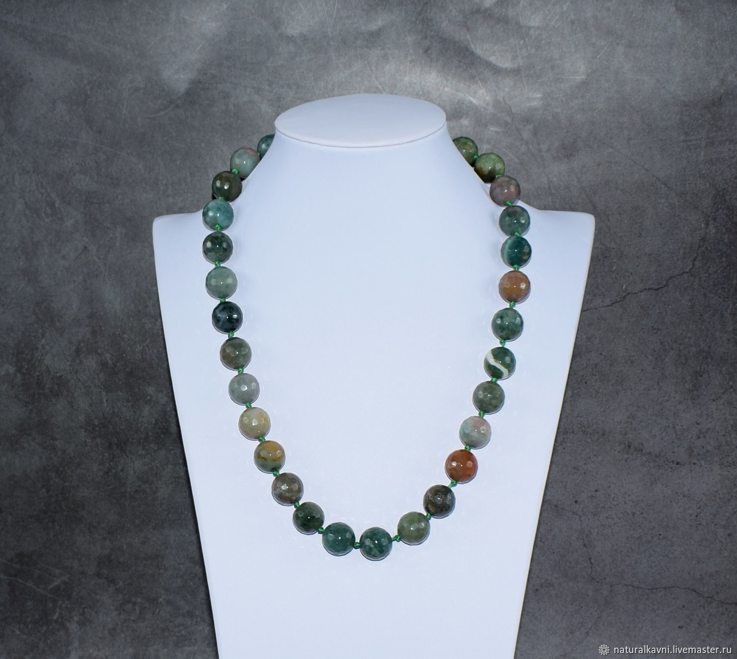 Large beads with natural green agate cut, Beads2, Moscow,  Фото №1