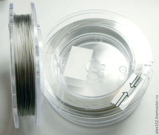 Для украшений ручной работы. Ярмарка Мастеров - ручная работа. Купить 1 м ТРОСИК  серебро цвет японский 0, 4  мм тоненький пластичный. Handmade.