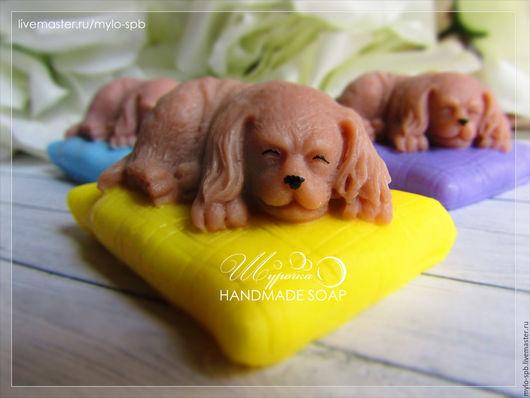 """Мыло ручной работы. Ярмарка Мастеров - ручная работа. Купить """"Собачка на подушке"""", мыло ручной работы. Handmade. Комбинированный"""