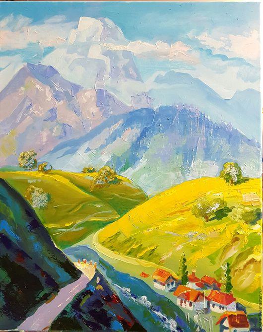 Пейзаж ручной работы. Ярмарка Мастеров - ручная работа. Купить дорога в горы. Handmade. Бирюзовый, горный пейзаж, подарок подруге