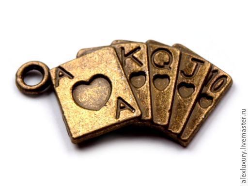 Для украшений ручной работы. Ярмарка Мастеров - ручная работа. Купить Подвеска Колода карт под золото 23x10. Handmade.
