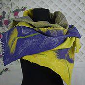 Аксессуары handmade. Livemaster - original item Tippet felted wool felted scarf women`s yellow purple. Handmade.