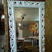 """Для дома и интерьера ручной работы. Ярмарка Мастеров - ручная работа Зеркало в белой резной раме """"Диана"""". Handmade."""