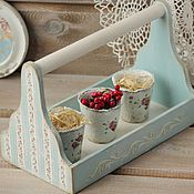 Для дома и интерьера handmade. Livemaster - original item Basket box wooden with handle in the style of shabby decoupage. Handmade.