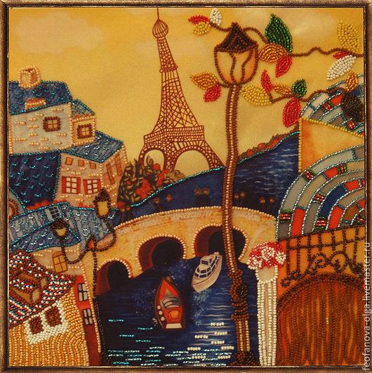 Город ручной работы. Ярмарка Мастеров - ручная работа. Купить Весна в Париже. Handmade. Оранжевый, Париж, картина бисером, интерьер