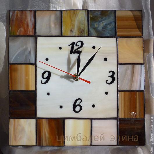 """Часы для дома ручной работы. Ярмарка Мастеров - ручная работа. Купить Витражные часы """"Белый квадрат"""". Handmade. Часы"""