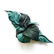 Сумки и аксессуары handmade. Livemaster - original item Brooch flower leather