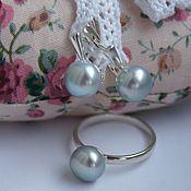 Украшения handmade. Livemaster - original item Silver earrings and ring with natural mint grey pearls set. Handmade.