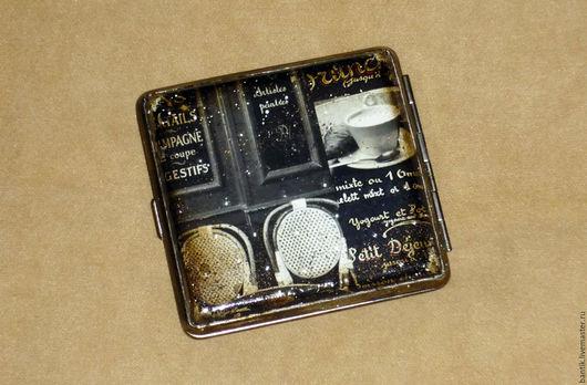 """Подарки для мужчин, ручной работы. Ярмарка Мастеров - ручная работа. Купить Портсигар """"Cafe Paris"""". Handmade. Чёрно-белый, для сигарет"""