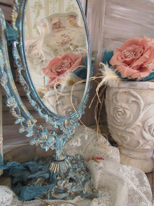"""Зеркала ручной работы. Ярмарка Мастеров - ручная работа. Купить Зеркало  """"Изящный век"""". Handmade. Бирюзовый, винтаж, зеркало"""