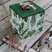 Короб ручной работы. Ярмарка Мастеров - ручная работа Короб травы изумруд. Handmade.