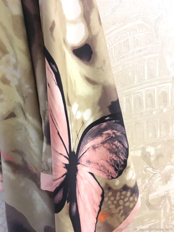 Шали, палантины ручной работы. Ярмарка Мастеров - ручная работа. Купить Натуральный шелковый платок из ткани Roberto Cavalli.Полет бабочки. 1. Handmade.