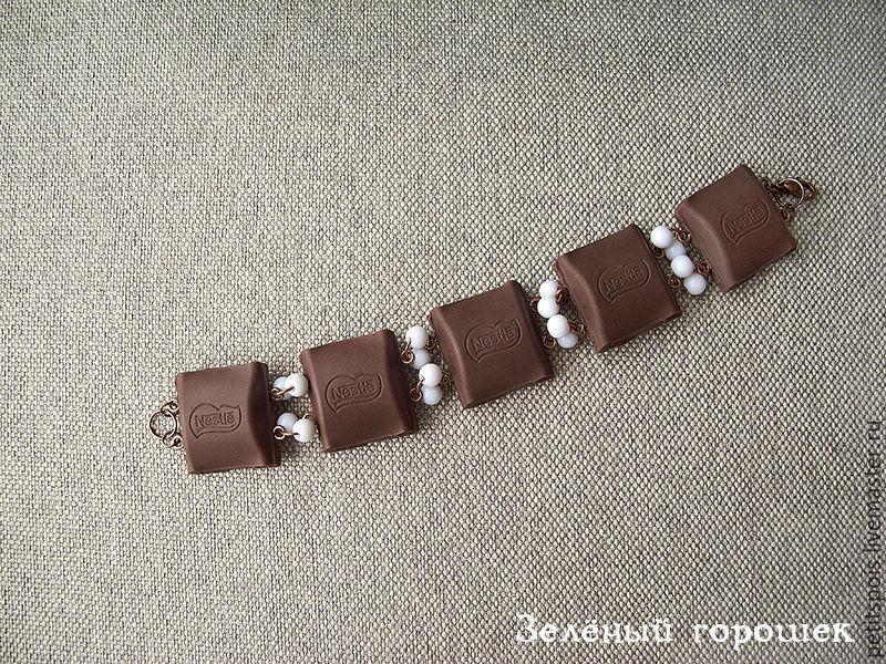 """""""Шоколад"""" браслет из полимерной глины в виде кусочков шоколадки"""