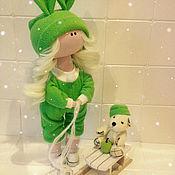 Тыквоголовка ручной работы. Ярмарка Мастеров - ручная работа интерьерная текстильная кукла снежка. Handmade.